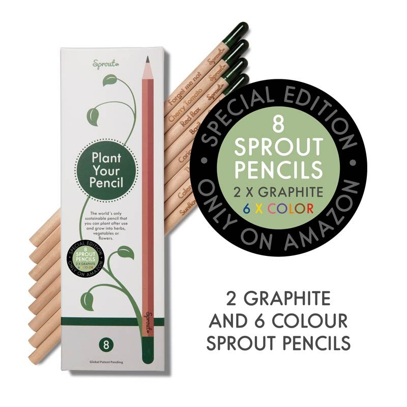 Special Amazon Edition: 8 plantable Sprout pencils - 2 graphite + 6 color